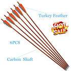 Turkey Feather Carbon Arrows Shafts 400 Spine Hunting for Compound Recurve Bow