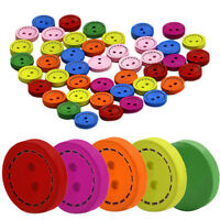 KE_ 100Pcs 2 Holes Mixed Round Wooden Buttons Sewing Craft Scrapbook Decorativ