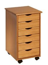 Rolling Office Cart 6 Drawers Crafts Solid Wood Sewing Organizer Desk Storage