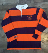 Barbarian Rugby Wear Shirt Long Sleeve Small Blue Orange Stripe Mountain Lakes S