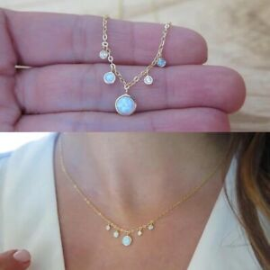 Beautiful Gold Plated Over Sterling Silver White Fire Opal Drops Choker Necklace
