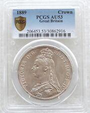 1889 British Queen Victoria Jubilee Head Silver Crown Coin PCGS AU53