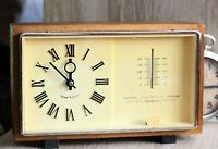 Vintage Majak Clock Wooden Table Clock Made in USSR Barometer and Thermometer