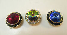 LOT OF 3 CUFFLINK BUTTONS GOLD TONE W/ GARNET BLUE & CAMELEON RHINESTONE **
