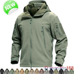 New Waterproof Soft Shell Mens Jackets Military Tactical Fleece Lining Coats UK