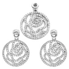 925 Sterling Silver 3.18 Carat CZ Round Rose Pendant and Earring Set
