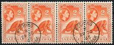 Sarawak 1964-5 sg#205, 2c ROSSO-ARANCIO QEII definitiva 2nd WMK USATO STRISCIA #d46574