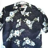 Hilo Hattie Men's Black White Floral Palm Tree Hawaiian Aloha Camp Shirt XL