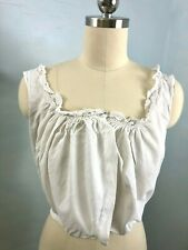 Antique Edwardian Victorian White cotton lace Camisole Cami or Corset Cover Top