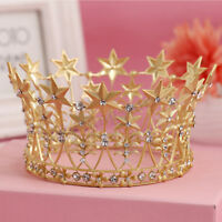 8cm High Stars Crystal Gold Golden Wedding Bridal Party Pageant Prom Tiara Crown