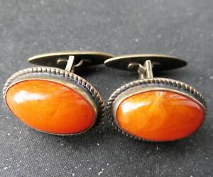 Antique Baltic Amber Silver Cufflinks