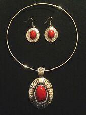 Choker Necklace Earrings Big Chunky Boho Hippie Silver Red Gypsy N1052