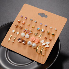 Fashion Jewelry 20 Pairs Set Mixed Stud Crystal Pearl Ear Studs Earrings Set