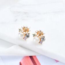 white flower pearl earring