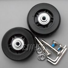 """Luggage Suitcase Replacement Wheels OD 65 (2.56"""") ID 6 W 22 Axles 40 Repair Set"""