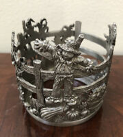 Scents & Accents Vintage Fine Pewter Scare Crow Candle Holder NEW NO BOX
