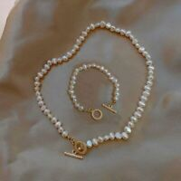 Natural Fresh Water Pearl Baroque Irregular Choker Toggle Women Necklace Wedding