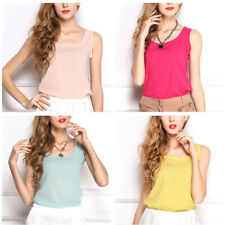 Fashion Women Girls Shirt Sleeveless Chiffon Blouse Loose Casual Tank Tops Vest
