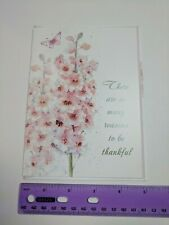 Hope Greeting Card Collection Light Pink Flowers Embossed Reasons to be Thankful