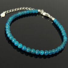 Men's Women Bracelet 4mm Apatite 925 Sterling Silver Bead Clasp Link 1324