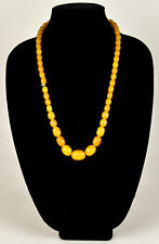 Vintage Butterscotch Yellow Swirl Graduated Bead Strand Necklace Bakelite VTG