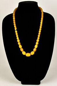 Vintage Butterscotch Yellow Swirl Graduated Bead Strand Necklace Bakelite VTG