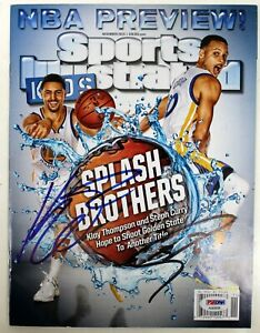 STEPHEN CURRY, KLAY THOMPSON SIGNED WARRIORS SPORTS ILLUSTRATED MAGAZINE PSA/DNA