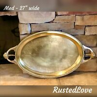 Med Brass Vintage Serving Tray hand etched with handles Mid Century Modern