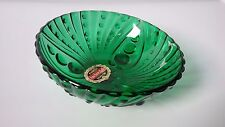 Vintage Anchor Hocking Forest Green glass candy nut dish bubble design sticker
