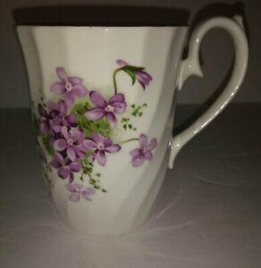VINTAGE ASHLER Bone China England Purple Violets or Pansies Tea Coffee Cup Mug