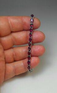 """STERLING SILVER 7"""" Awesome Natural Rhodolite Garnet Tennis Link Bracelet MINT"""