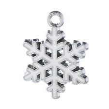 10 White Christmas Snowflake Enameled Silver Tone Charms 24mm X 19mm J63289n