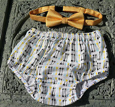 2 pc set 1st Birthday boy cake smash Outfit Bow tie bloomers arrows Yellow blue