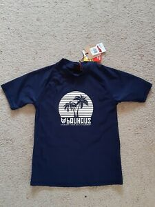 BOYS BAUHAUS RASHIE SHORT SLEEVED NAVY SWIMWEAR SIZE 10  - BNWT