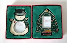 Lot of 2 Holiday Picture Frames Small Painted Glass Snowman & Christmas Tree