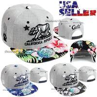 Baseball Cap California Republic Bear Flat Snapback Adjustable Floral Mens Hat