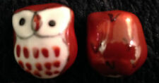 Brown Ceramic Owl bead