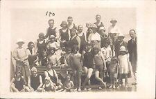 Photo cpa Treport groupe maillot bonnet mode plage swimsuit Bathing cap 1900 D