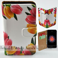 For Apple iPhone Series - Colourful Tulip Print Wallet Mobile Phone Case Cover