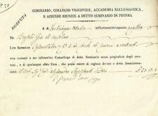 Seminario Collegio Vescovile di Pistoia Ricevuta di Lire Fiorentine 63 1854