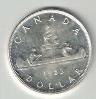 CANADA 1953 SF VOYAGEUR SILVER DOLLAR QUEEN ELIZABETH II CANADIAN SILVER COIN