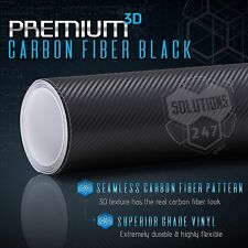 3D Black Carbon Fiber Vinyl Wrap Roll Bubble Free Air Release - 24