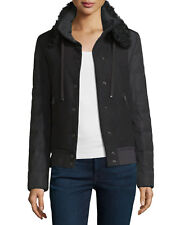 Moncler Kyriake Varsity Wool Fur Collar Down Jacket NWT Size 3 MED Black $1550