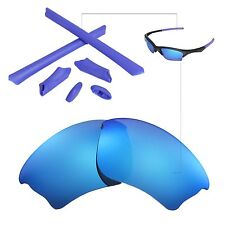 New Walleva Polarized Ice Blue Lenses And Rubber Kit For Oakley Half Jacket XLJ
