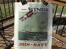 "PRINT OF WWII NAVY RECRUITMENT POSTER NAMED 'WINGS"" AND SAYING ""JOIN the NAVY"""
