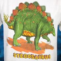 NOS vintage 80s STEGOSAURUS DINOSAUR CARTOON T-Shirt SMALL jurassic park thin