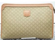 CELINE Ladies Hand bag Clutch Purse Light Brown Canvas Macadam w/Dust Bag
