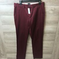 J Crew Mens 31 x 32 770 Straight Chino Burgundy Pants NEW E1590