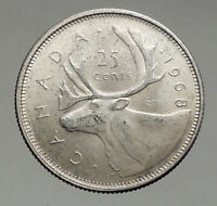 1968 CANADA United Kingdom Queen Elizabeth II CARIBOU Silver 25 Cent Coin i56890