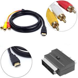 1.5M HDMI auf 3-RCA AV Kabel Scart auf 3 Cinch S-Video Audioadapter Konnector